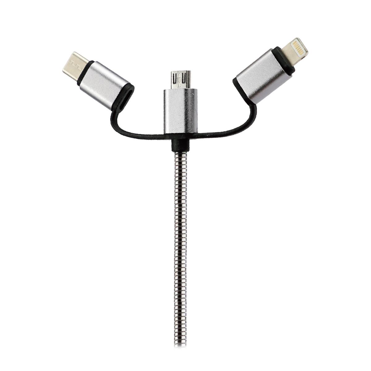 Cable de datos USB 3 en 1 Full Metal